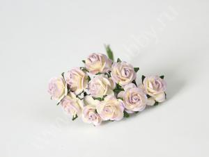 Маленькие розы 1,5 см - Светло сиреневый+молочный. Fierahobby.ru